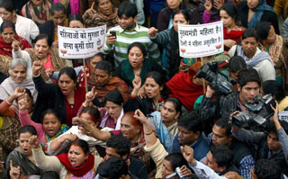 Anti-rape demonstrators in New Delhi.