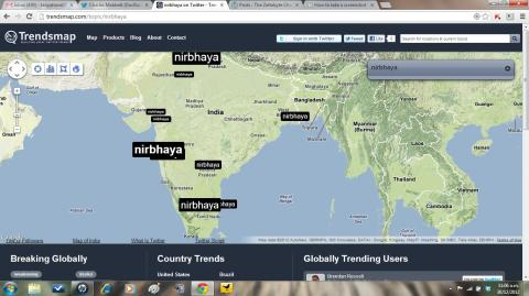 Trendsmap image of #RIPNirbhaya hashtag tweets in India.