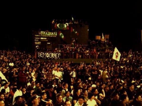 Post election opposition rally at Kelana Jaya Stadium in Kuala Lumpur. Photo by @PrincessJoLing