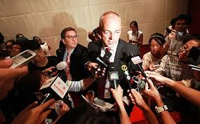 Fonterra CEO Theo Spiering fronts the news media in Beijing